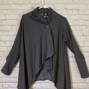 Heather Charcoal One-Button Fleece Cardigan